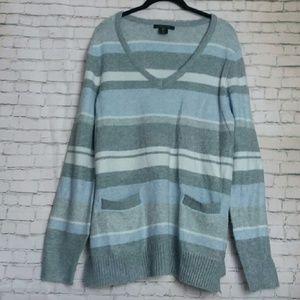 TAHARI  super soft blue + grey striped sweater